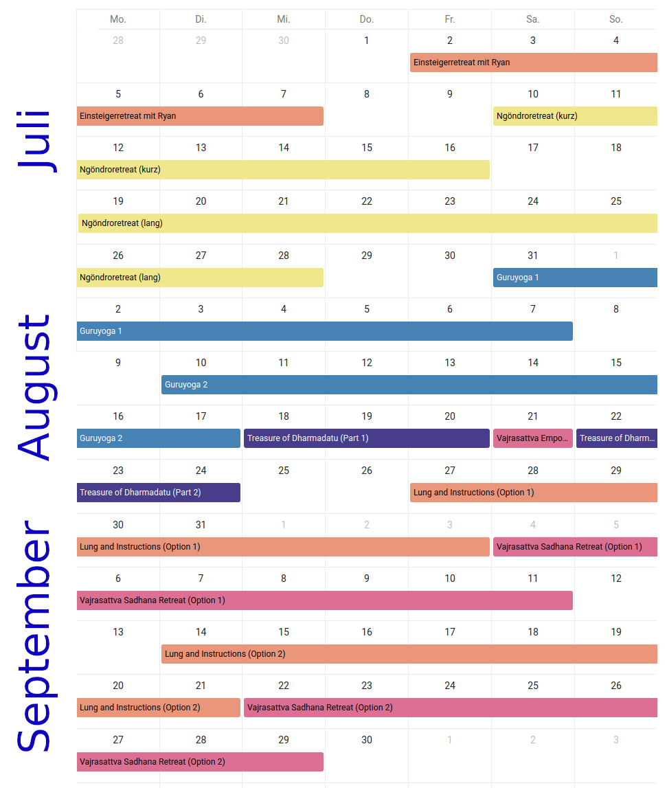 Image with all summer retreats in a calender overview